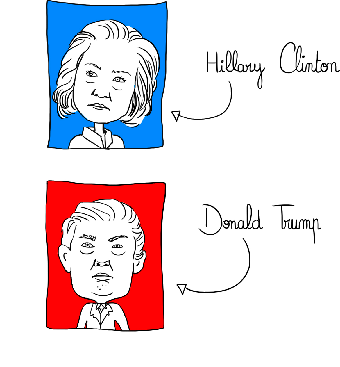 portraits dessins trump & clinton