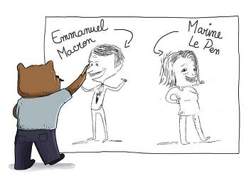 dessin politique pour enfants Macron vs LePen